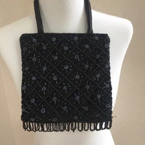 Black velvet beaded evening bag